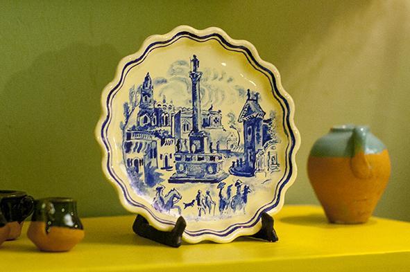 210 tris blue print potterycopia