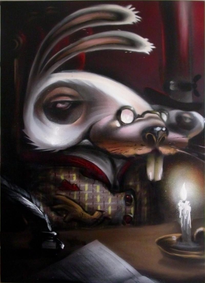 """6- 2009 """"mr. white"""" 50x70 spray on canvas bassa"""